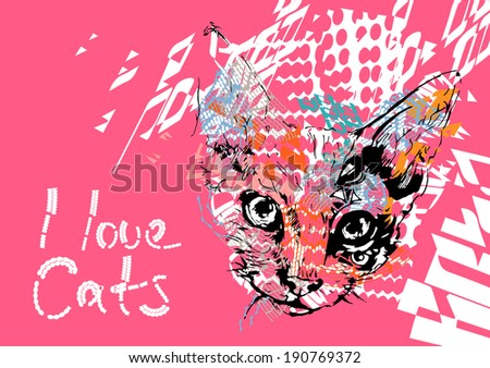I Love Cats - stock vector
