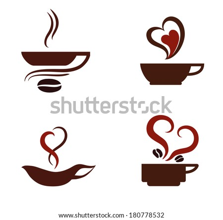 I love coffee. Vector icons. Coffee cups. - stock vector