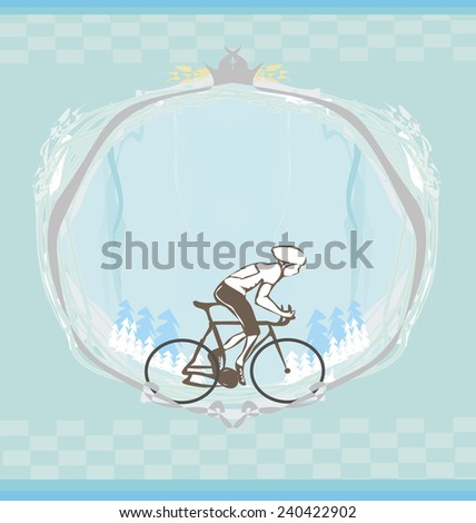 i love cycling banner - abstract frame with space for text  - stock vector