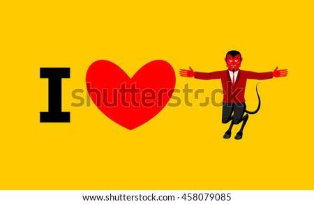 Love Devil Symbol Heart Demon Horns Stock Photo Photo Vector