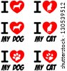 I Love Dog and Cat Signs. Vector Collection - stock vector