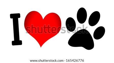 I Love Dog symbol and cute Dog  - stock vector