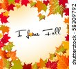 I love fall leaves - stock vector