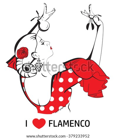 I love flamenco. Dancing woman with castanets. - stock vector