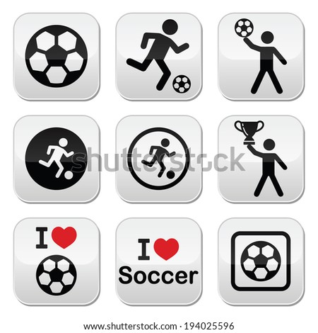 I love football or soccer, man kicking ball vector buttons set - stock vector