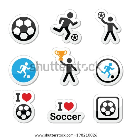 I love football or soccer, man kicking ball vector icons set - stock vector