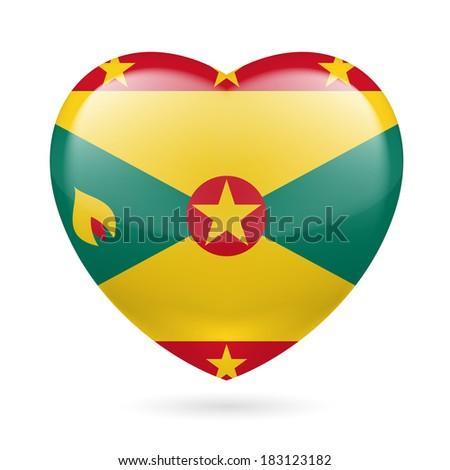 I love Grenada. Heart with flag design  - stock vector