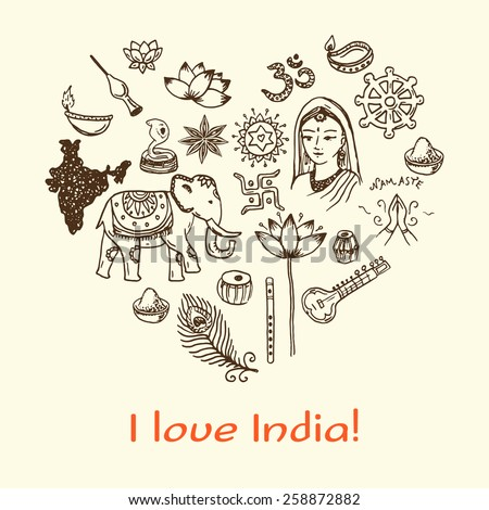 I Love India! Hand drawn background in the shape of heart. Doodle icons set. - stock vector