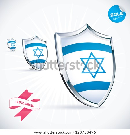 I Love Israel Flag Illustration, Sign, Symbol, Button, Badge, Icon, Logo for Family, Baby, Children, Teenager, People - stock vector