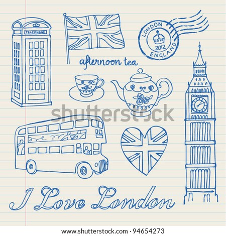 I love London icons set doodles drawings background - stock vector