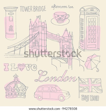 I love London icons sketch vector - stock vector