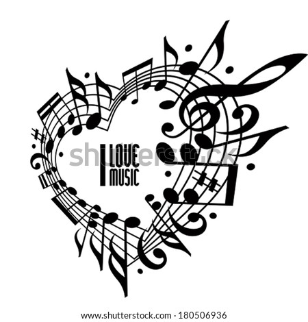 I love music concept, black and white design. Heart made with musical notes and clef, black and white design, contain copy space inside for your text, music theme vector design template.