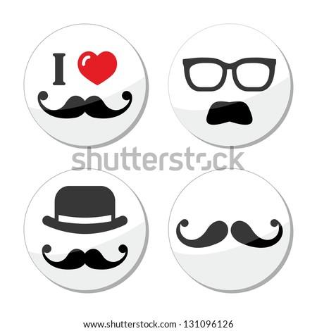 I love mustache / moustache icons set - stock vector