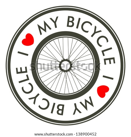 I Love My Bicycle emblem - stock vector