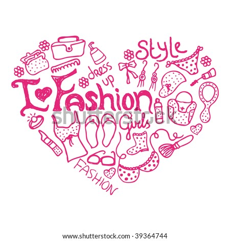 I love my fashion doodles in vector - stock vector
