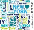 I love my New York typography seamless background pattern in vector - stock vector