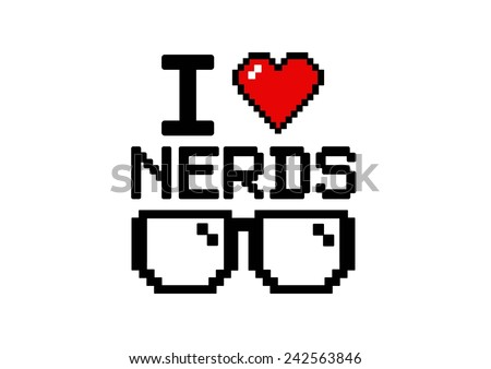 I love nerds  with glasses and heart in pixel style - stock vector