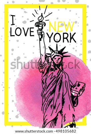 love new york stylish poster postcard stock vector (2018) 498105682