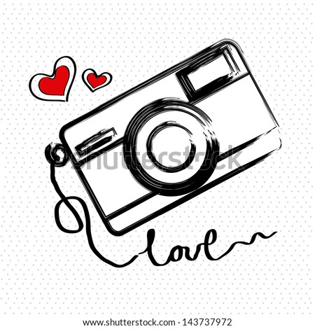 i love photographic over white background vector illustration - stock vector