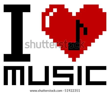 I Love pixel music - vector - stock vector