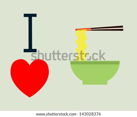 I love ramen - stock vector