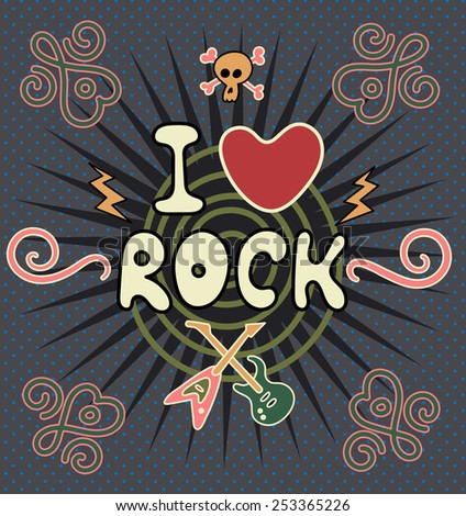 I Love Rock. Vector illustration - stock vector
