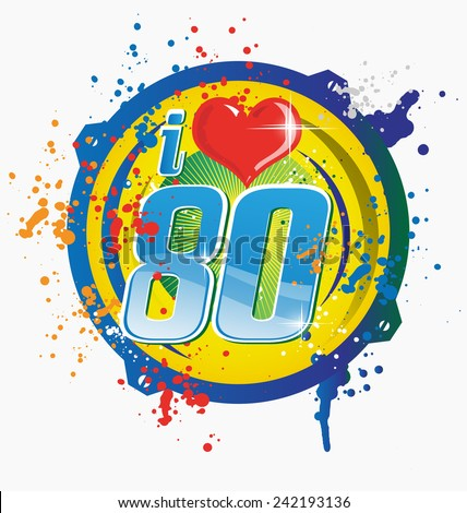 i love 80s music symbol isolated on white - stock vector