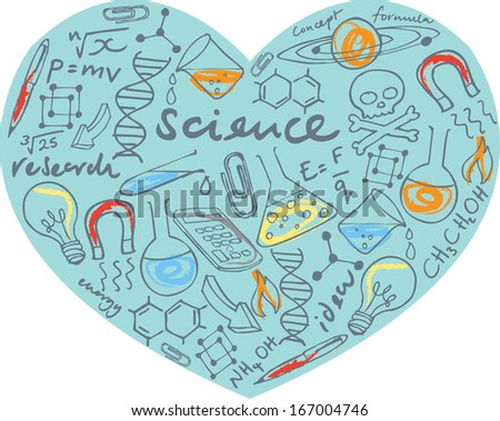 I Love Science - various science icons arranged in heart shape