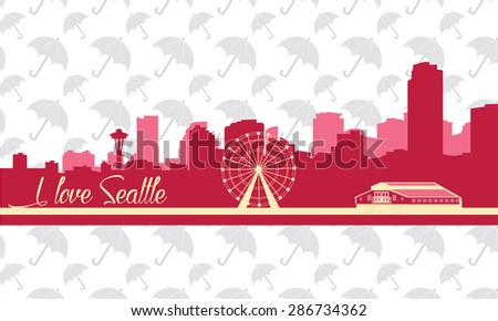 I love Seattle, Seattle skyline silhouette with Great Wheel, red and pink color, umbrellas background - stock vector