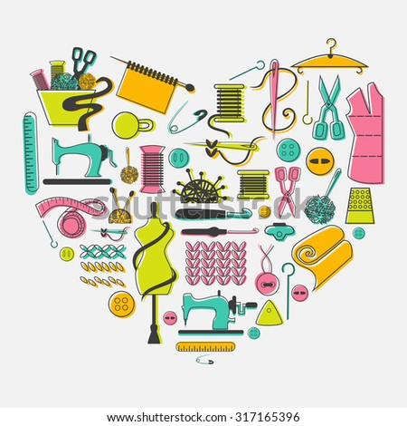 I love sewing and needlework set.  Tailoring, needlework, equipment and elements in heart. - stock vector