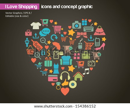 I Love Shopping (icon and concept)  - stock vector