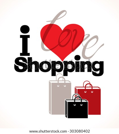 I love shopping. Icon packages. - stock vector