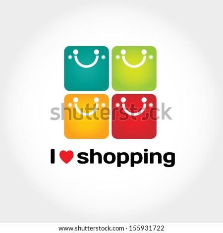 I love shopping vector sign with typography and four shopping bags like smiley face - stock vector
