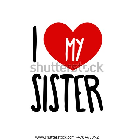 Love Sister Family Red Heart Simple Stock Vector Royalty Free
