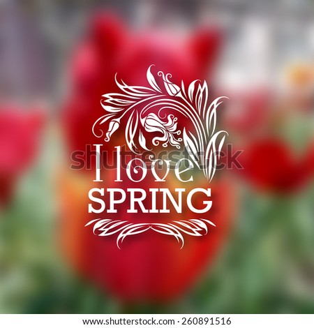 I love Spring. Typographic design with text, filigree floral frame, shadow on blurred background for greeting card, poster. Vector illustration EPS 10. - stock vector