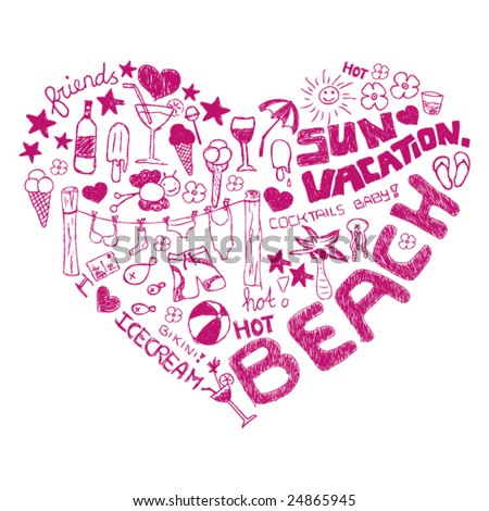 i love summer on the beach vacation doodles - stock vector