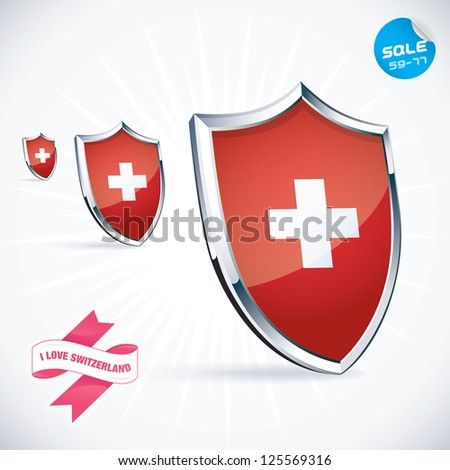 I Love Switzerland Flag Illustration, Sign, Symbol, Button, Badge, Icon, Logo for Family, Baby, Children, Teenager, People - stock vector