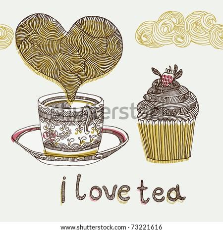 I love tea vector illustration - stock vector