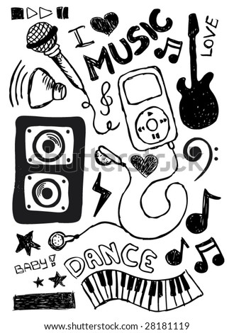 I love the way my music sounds doodles - stock vector