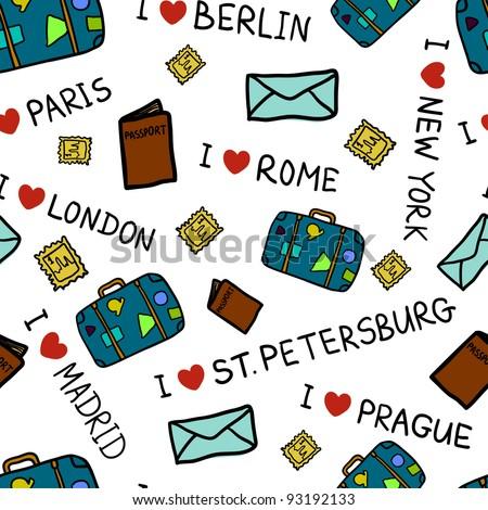 I love travel pattern - stock vector