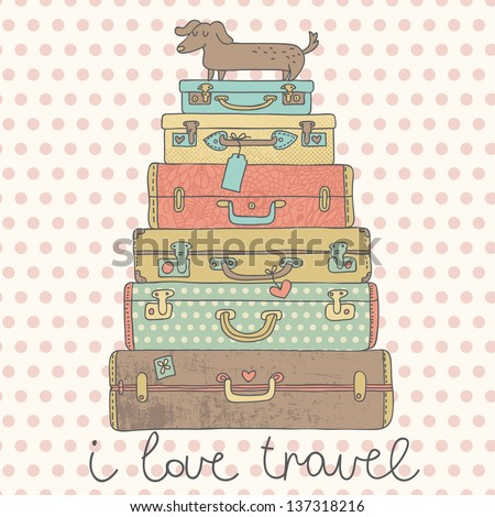 I love travel. Travel conceptual card with nice suitcases in vector - stock vector