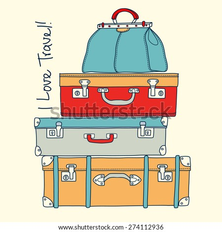 I love travel. Travel conceptual card with vintage suitcases in vector - stock vector