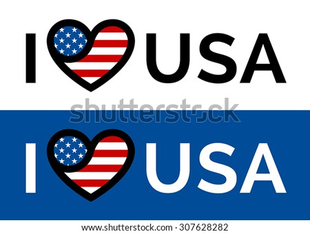 I love USA sticker slogan vector design with conceptual heart and flag icon - stock vector
