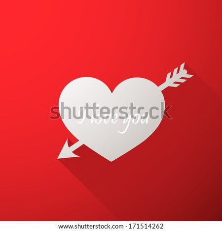 I love you. Abstract holiday background with a paper heart and arrow. Valentines day concept - stock vector