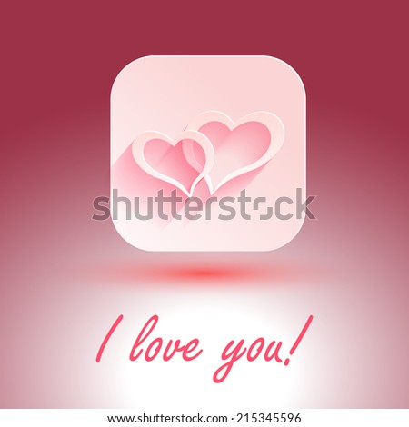 I love you. Abstract holiday background with paper hearts. Valentines day concept - stock vector