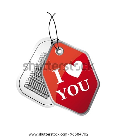 i love you and bar code labels isolated over white background. vector - stock vector