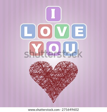 I love you card or poster with pink background and red heart - stock vector
