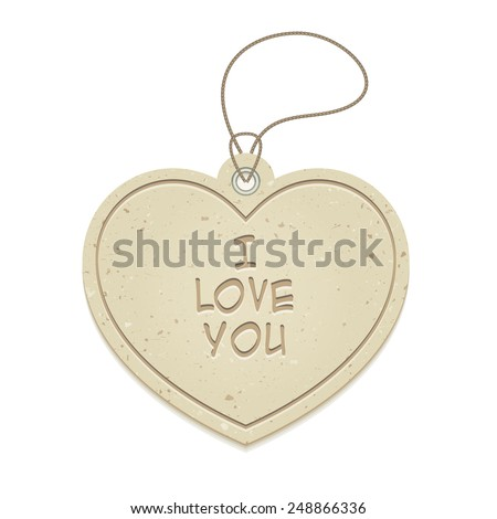 I love you cardboard heart-shaped hanging tag, vector illustration - stock vector