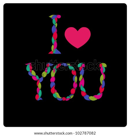 I Love You Colorful Title With Stylized Hearts Alphabet Made Of Curls