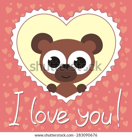 i love you, cute bear in heart, handwritten text, valentines day card